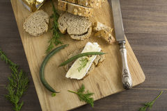 Bread served with chesse brie Royalty Free Stock Photos