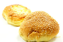 Bread with sesame and cheese bread. On the white background Stock Photography