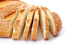 Bread with a sesame, over white Royalty Free Stock Photo