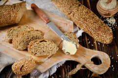 Bread with sesame seeds Stock Images