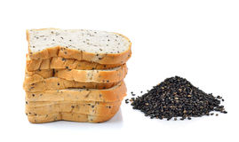 Bread with sesame and sesame on white  background Stock Images