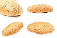 Bread with sesame on white Stock Images