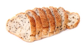 Bread with sesame on white background Stock Images