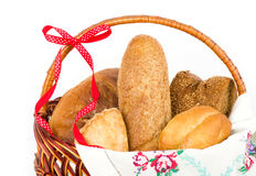 Bread set in basket Royalty Free Stock Image