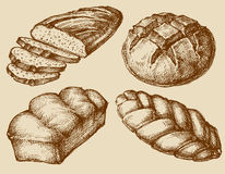 Bread set hand drawn Stock Images