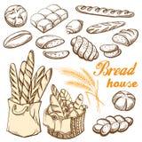Bread set hand drawn vector illustration