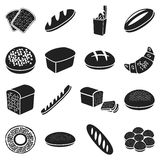 Bread set icons in black style. Big collection bread vector symbol stock illustration Royalty Free Stock Photos