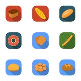 Bread set icons in flat style. Big collection of bread vector symbol stock illustration Royalty Free Stock Photos
