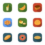 Bread set icons in flat style. Big collection of bread vector symbol stock illustration Stock Image