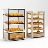 Bread shelves. 3d render bread shelves with bread royalty free illustration