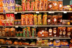Bread on the shelves. Variety of bread on supermarket shelves Royalty Free Stock Photos