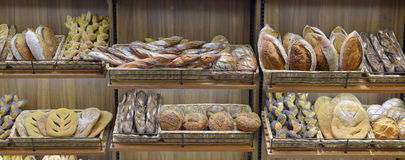 Bread in a shop. Window Royalty Free Stock Images