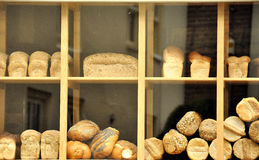 Bread in a show-window in Nitherlands Stock Image