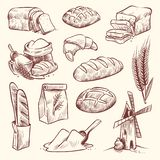 Bread sketch. Flour mill baguette french bake bun food wheat traditional bakery basket grain pastry toast slice set royalty free illustration