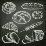Bread, sketches on the chalkboard Royalty Free Stock Images