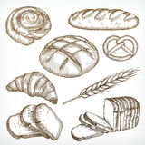 Bread sketches hand drawing Stock Image