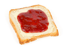 Bread slice with butter and jam Royalty Free Stock Image