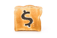 Bread slice with dollar sign Royalty Free Stock Image