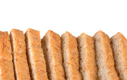 Bread slice isolated on white, clipping path included.  stock photography
