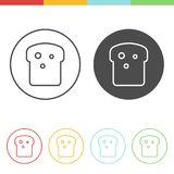 Bread slice vector icons. Vector set of bread slice icons in thin line style Royalty Free Stock Photo