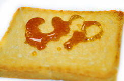 bread slice view deliciously crunchy honey Royalty Free Stock Images