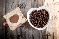 Free Bread Slice With Heart Shape And Coffee Beans Stock Images - 66835664