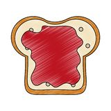 Bread sliced with jam scribble. Bread sliced with jam vector illustration graphic design vector illustration