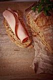 Bread with sliced pork ham close up Stock Image
