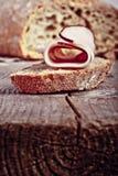 Bread with sliced pork ham close up Stock Photos