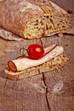 Bread with sliced pork ham close up Royalty Free Stock Photography