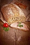 Bread with sliced pork ham close up Royalty Free Stock Photos
