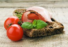 Bread with sliced pork ham Royalty Free Stock Photography