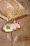 Bread with sliced pork ham Stock Photography
