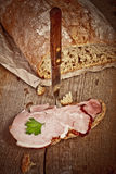 Bread with sliced pork ham Stock Image