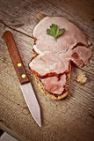 Bread with sliced pork ham Royalty Free Stock Images
