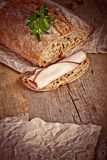 Bread with sliced pork ham Royalty Free Stock Photos