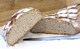 Sliced fresch traditional french bread royalty free stock photography
