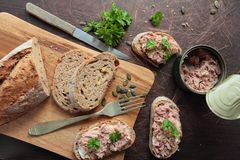 Bread with sliced tuna Stock Images