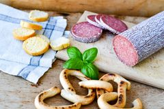Salami and bread stock image