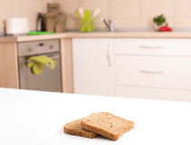Bread slices on countertop Royalty Free Stock Photo