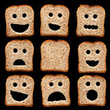 Bread slices with face expressions Royalty Free Stock Images