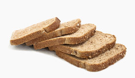 Bread Slices. Five slices of wheat bread laid on top of each other. horizontal Stock Image
