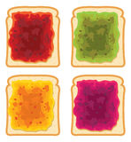 Bread slices with fruit jam, vector royalty free illustration