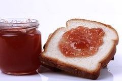 Bread slices with jam stock images