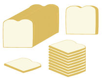 Bread slices and loaf. Slices of white bread and a loaf of bread on a white background royalty free illustration