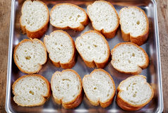 Bread slices on a pan Stock Photography