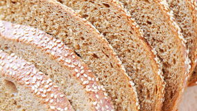 Bread slices at rotating stand - closeup. HD 1080 static: Bread slices at rotating stand - closeup stock video footage