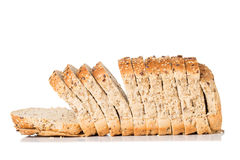 Bread Slices. Seeded Wholegrain Bread Slices Isolated on a White Background Royalty Free Stock Images