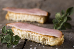 Bread slices with smoked meat Royalty Free Stock Photo
