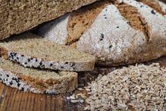Bread slices wheat grain Stock Images